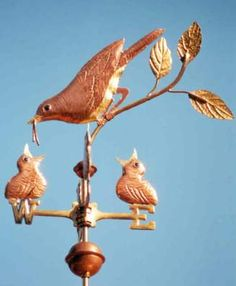 Robin Feeding Chicks Weathervane - Handcrafted Of Copper Lightning Rod, Weather Vanes, Wind Spinners, Old Signs, Little Birds, Bird Feathers, Wood Carving, Pet Birds, Folk Art