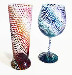 Colorful Polka Dot Hand Painted Glassware Blended Ombre by LKCustomCreations
