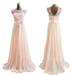 Cute long lace applique embellished floral formal prom homecoming gowns for women