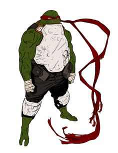 aaaand last one.  I've had this one locked for a while. Idea-wise. He pretty much is the exact opposite of mikey. Raph is pure blunt force. He isnt fast, he isnt smart, no finesse. Instead, he just walks up to something and hits it until it drops. He doesn't get out of the way either. He takes the hits. and hits them back. I also wanted him to barely use any weapons. its all his fists.