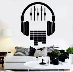 Details about Vinyl Wall Decal Headphones Sound DJ Music Musical Stickers - - Music Wall, Dj Music, Music Artwork, Vinyl Music, Music Bedroom, Bedroom Decor, Music Inspired Bedroom, Home Studio Musik, Music Studio Decor