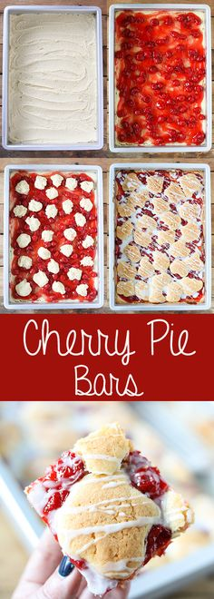 Cherry Pie Bars aka Cherry Kuchen Bars- delicious dessert recipe you can make this Valentines! More easy and homemade food recipes @ Best Dessert Recipes, Easy Desserts, Delicious Desserts, Bar Recipes, Easy Snacks, Breakfast Recipes, Dinner Recipes, Cobbler, Cupcakes