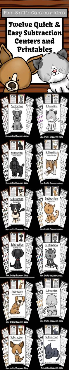 ** 50% Off for the First Two Days! ** Twelve Subtraction Quick and Easy Centers and Printables - Kittens and Puppies Themed #TPT $Paid