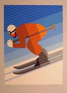 "Victor Vasarely - ""Down Hill Skier""   Look for Vintage Ski Memorabilia at www.rubylane.com"