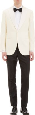 Satin Lapel One-Button Dinner Sportcoat in Cream by Brioni