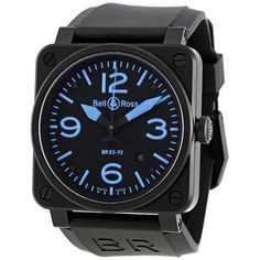 Bell and Ross Instrument Black and Blue Dial Automatic 42MM Men's Watch BR-03-92-BLUE