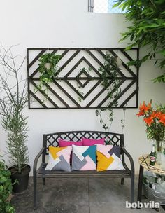 Makeover an Ordinary Outdoor Space with a Wall-Mounted Trellis - The Wall Trellis That Will Makeover Any Blank Wall Patio Wall Decor, Outdoor Wall Art, Diy Wall Decor, Outdoor Walls, Outdoor Living, Outdoor Decor, Home Decor, Outdoor Candles, Outdoor Pergola