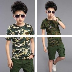 Cheap children clothing set, Buy Quality clothing sets directly from China kids boy Suppliers: 2017 Kids Boys Suits High Quality Cotton T-shirts Pants 2 Pieces / Set New Summer Child Camouflage Suit Children Clothing Sets Boys Summer Suits, Boys Suits, Baby Dior, Boys Clothes Style, Toddler Boy Fashion, Organic Baby Clothes, Stylish Kids, Boy Outfits, Stylish Outfits