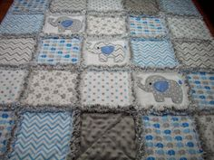 Elephant Baby Rag Quilts Rag Quilt Baby by LoveableQuiltsNMore