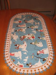 Aunt Roo's Snow Many Friends Snowmen fabric table runner w/ crocheted edging...