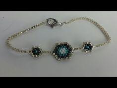 Making evil eye bead bracelets with the brick technique. Pretty elegant and soft bracelet model Bead Loom Bracelets, Jewelry Bracelets, Bracelet Making, Jewelry Making, Beaded Jewelry, Beaded Necklace, Diy Collier, Jewelry Model, Diy Schmuck