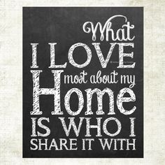What I love most about my home chalkboard art print by MelissaFlemingDesigns