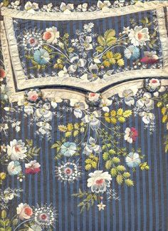 Detail of a pocket flap, from a private collection. I always get week in the knees when confronted with 18th cen embroidery .  Fabric for a suit could cost hundreds the embroidery added on thousands!