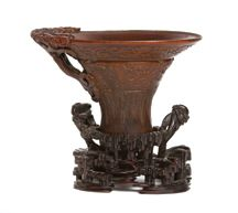 A Chinese Carved Rhinoceros Horn Cup     17th Century