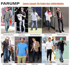 Olá pessoal! Hoje é dia de nos inspirarmos no estilo casual para homens das celebridades... Veja como artistas como Ashton Kutcher, Jude Law, Zac Efron e Robert Pattinson costumam usar jeans no seu dia a dia.