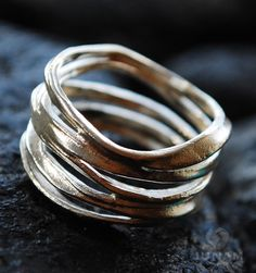 Silver Ring Unique Loop Design sterling silver 925 by JunamJewelry, $112.00