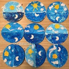 Ideas for craft preschool moon night skies Kindergarten Activities, Preschool Crafts, Preschool Activities, Opposites Preschool, Moon Crafts, Blue Crafts, Sky Art, Classroom Crafts, Space Theme