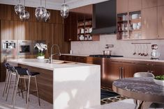 A modern, sleek kitchen in copper & walnut. Taking things to the next level! Kitchen Cabinetry, Kitchen Pantry, Cabinets, Bright Pillows, Delta Faucets, Contemporary Interior Design, Architecture Details, Design Model, House Design