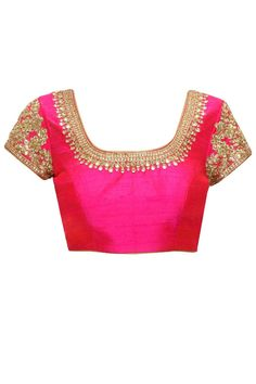Aqua and beige mukaish work kali sari with pink kundan blouse available only at Pernia's Pop-Up Shop.