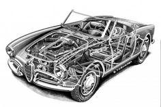 Alfa Romeo Spider - Shin Yoshikawa's Cutaway Drawing