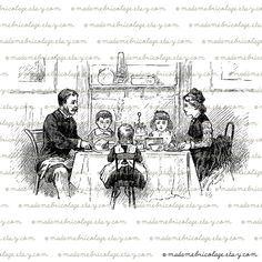 Family at the Table, Dining, Digital Download for Iron on Transfer, Papercrafts, Pillows, T-Shirts, Tote Bags, Burlap, No 01296. $1.00, via Etsy.
