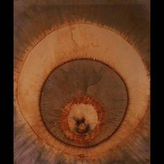 Rio Wrenn 'To the Core' silk, rust, natural dye, brass thread 36″ x 18″