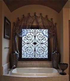 I think I need this over each of my bathroom Windows Master bath with metallic color wash barrel ceiling and iridescent sheer drapery using knobs and tableux faux iron Barrel Ceiling, Decor, Home Remodeling, Faux Iron, Beautiful Bathrooms, Mediterranean Home Decor, Tuscan Decorating, Home Decor, Tuscan Bathroom