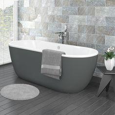 SHOP the Verona Grey Freestanding Modern Bath at Victorian Plumbing UK Bathroom Design Small, Bathroom Layout, Simple Bathroom, Bath Design, Bathroom Ideas, Bathroom Grey, Family Bathroom, Bathroom Vanities, Bathroom Designs