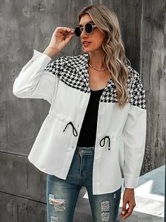 Hijab Fashion, Fashion Outfits, Waist Coat, Drawstring Waist, Color Blocking, Rain Jacket, Windbreaker, Leather Jacket, Street Style