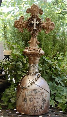 Decorative Large Cross Bottle with Embellishments