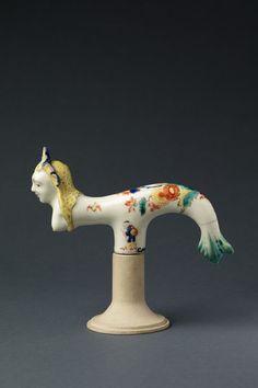 Cane handle, porcelain, in the form of a mermaid, Saint-Cloud porcelain factory, France, about 1730-1740