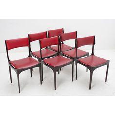 Set di sei sedie da tavolo Beatrice designer Giuseppe Gibelli produttore Sormani paese Italia anno 1963 colori rosso nero in skay e legno