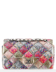 Chanel classic flap bag, organza embroidered with sequins