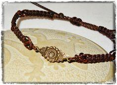 Armband ☼ Bronzeblume☼ dunkelbraun ☼ Glasperlen von Sunnseitn Kunsthandwerk auf DaWanda.com