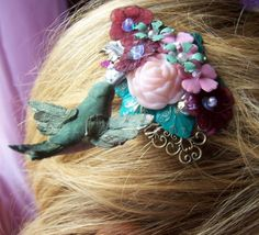 Floating hummingbird at the garden pond hair by MoodsWingz on Etsy, $35.00  fun..Sarah Jessica where are u