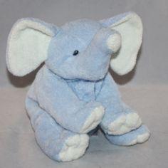 "2006 Ty Pluffies ""Winks"" the Blue Elephant Stitched Soft Eyes Plush"