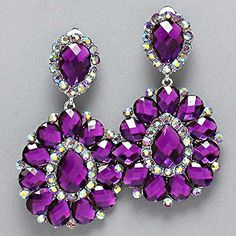 Purple Crystal Chandelier Rhinestone Clip on Bridal Drag Queen Pageant Earring Bridal Party Jewelry, Prom Jewelry, Rhinestone Jewelry, Bridal Earrings, Clip On Earrings, Crystal Rhinestone, Wedding Jewelry, Jewelry Sets, Purple Earrings