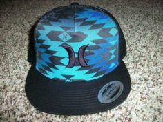 HURLEY New NWT Mens Snapback Adjustable Trucker Black Blue CAP HAT LID