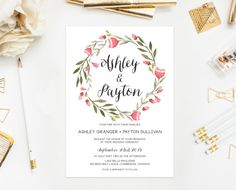 PRINTABLE Wedding Invitation  Pink Floral by BelleHanahPaperie