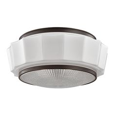 """Front Entry?  3816F-OB.   16.25"""" Diam x 7.25""""H.  White glass surround/old bronze finish.  3x60watts. Use LED"""