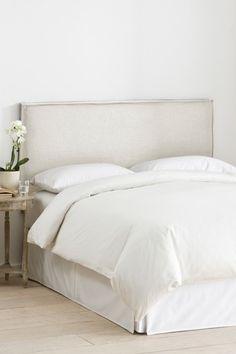 White Upholstered Bed, Slipcovered Headboard, King Bed Headboard, White Headboard, Bedding Master Bedroom, Linen Bedroom, Headboards For Beds, Home Bedroom, Slipcovers