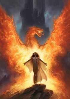 Fire Dragon and lady (fire magic used in the coolest possible way)