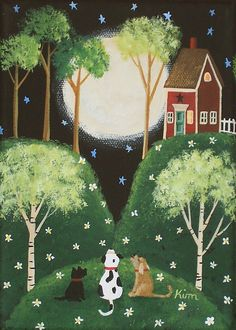 Folk Art Prints | Moonlit Serenade Folk Art Print by KimsCottageArt on Etsy