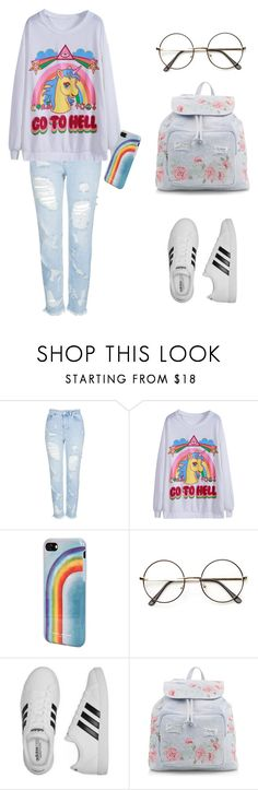 """Casual creepy"" by ebonyshaeritchie ❤ liked on Polyvore featuring Topshop, Marc Jacobs, adidas and New Look"