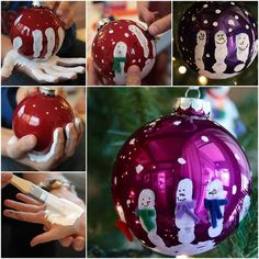 Fab Christmas Baubles Idea To Do With The Kids! Love this idea! Here are some tips! You can use any glass ball ornament Do it one child at a time! Start by painting the hand with regular craft paint Then put the bauble in the middle of their flat palm with their fingers out Get …