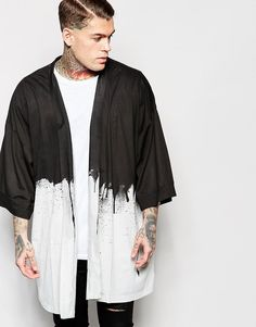 Image 1 of Religion Dripping Paint Print Jersey Kimono