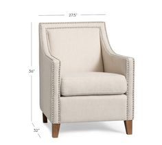 Everly Upholstered Armchair, Polyester Wrapped Cushions, Brushed Cotton Georgia Canary