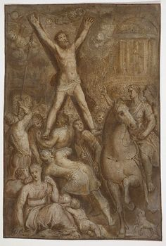 Otto van Veen, c.1556/7-1629, Flemish, The Martyrdom of Saint Andrew, c.1595.  Oil (brunaille) on paper; framing line in pen and brown ink, probably by a later hand, 28.6 x 19.3 cm.  Metropolitan Museum of Art, New York.  Northern Mannerism.