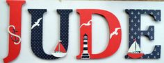 "Pottery Barn Kids Harper Boats Nursery - 12"" Personalized Wood Letters to Match PBK Harper Boats Nursery Set"