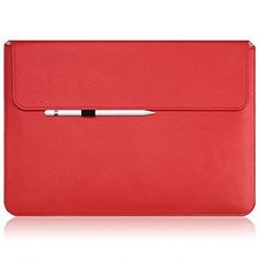iPad Pro Case Sleeve OMOTON Thinnest and Lightest PU Leather Wallet Sleeve for Apple iPad Pro (12.9 inch 2015 Released) Built- in Interior Holder for Apple Pencil and Document Pocket Red